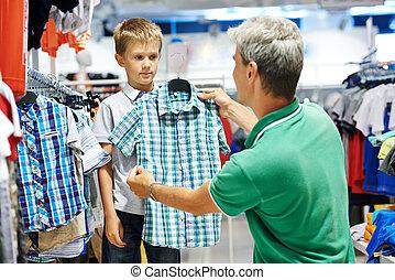 소년, 남자, 쇼핑, 천