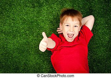 소년, 잔디, 녹색, 있는 것