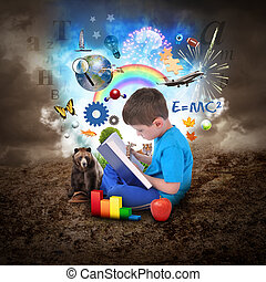 소년, 책, 교육, 독서, 물건