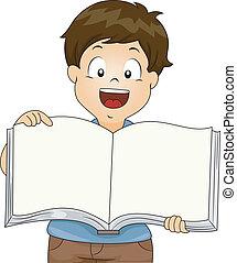 소년, 책, 열려라, 아이, 공백