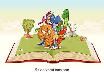 소년, 크게, 공룡, 책, 독서, 열려라, 만화