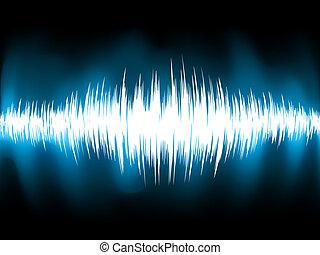 소리, 전류를 고주파로 변환시키는, eps, 배경., 검정, 파도, 8