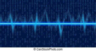 소리, 2 진 부호, 전류를 고주파로 변환시키는, 떼어내다, 네온, 삽화, 벡터, light., 배경, 파도, 기술, 백열