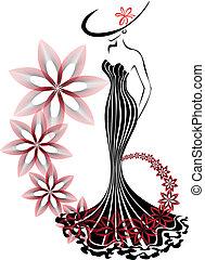 소용돌이, 여자, 꽃