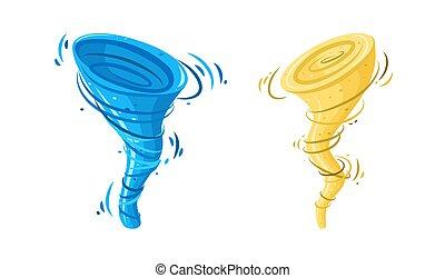 소용돌이, tsunami., 고립된, 먼지, 모래 폭풍, 소용돌이, 삽화, 폭풍우, 벡터, 배경., 백색, 회오리바람, 물
