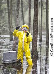 소형의 것, 테스트, 전문가, coveralls, 보호하는 것, 악에 물들게 하는, 환경, 연구실