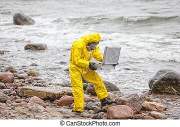 소형의 것, 해안, 전문가, coveralls, 보호하는 것, 악에 물들게 하는, 바위가 많은, 연구실, 바다