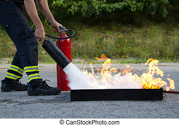 소화기, 사용, 불, 전시, 훈련, 어떻게, 교사