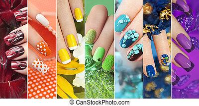 손톱, 무지개, 수집, 다채로운, designs.