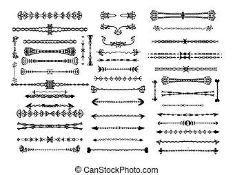 손, 꾸밈이다, 그어진, 국경, 연장 모음, set., 포도 수확, designer's