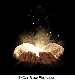 손, 2, 은 빛을낸다