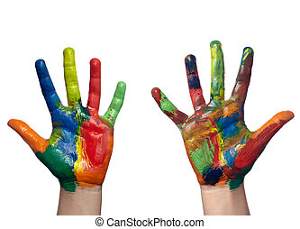 솜씨, 손, 예술, 아이, 그리는, 색