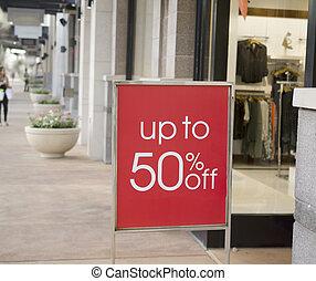쇼핑 센터, 판매 표시, 외부, 소매점