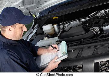 수선, service., 일, 자동차 정비사, 차