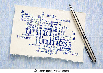 수제의 종이, 낱말, 구름, mindfulness