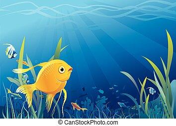 수중의 삶, fish, 금, -, 벡터
