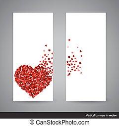 수직선, 밀려서, 발렌타인, 배너, 2, 정면, 쪽