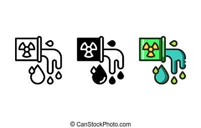 수질 오염, 아이콘, 대표되는, 공장, 낭비