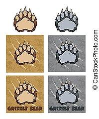 수집, 발, 디자인, 로고, 곰