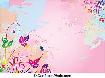 수채화 물감, 꽃의, 배경