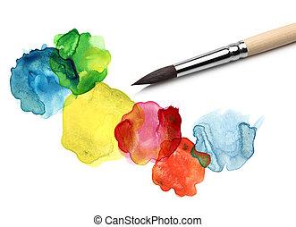 수채화 물감, bstract, 원, 그림, 솔