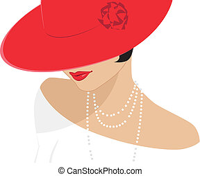 숙녀, 모자, 빨강