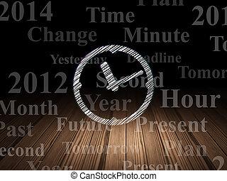 스케줄, 방, concept:, 암흑, grunge, 시계