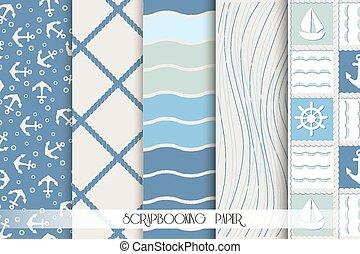스크랩북, patterns., 파랑, 바다, 세트, elements., 디자인, 백색