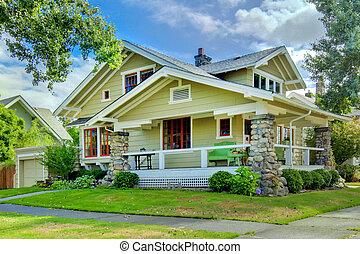 스타일, 늙은, porch., 녹색, 장인, 가정, 덮는