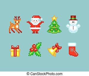 스타일, 성분, pixel-art, 크리스마스