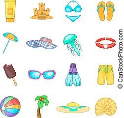 스타일, 아이콘, 세트, 여행, 바다, 만화