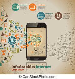 스타일, 컴퓨터, 포도 수확, infographic, 본뜨는 공구, 기술, 구름
