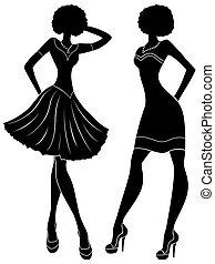 스텐슬, 모델, 현대, 짧다, 실루엣, 유행, 은 옷을 입는다