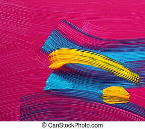 스트로크, 페인트, 밝은, 예술, 색