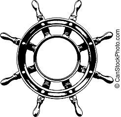 스티어링 휠, 배, (vector)
