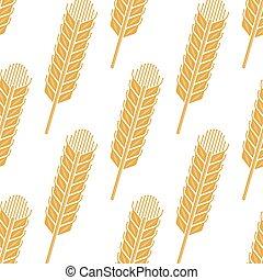 스파이크, 밀, 패턴, seamless, 만화, 보리, 곡물, 또는