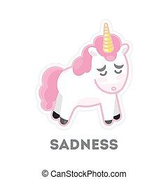 슬픈, 고립된, unicorn.