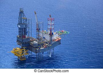 승객, 기름, rig., 위로의, 선택, 헬리콥터, 난바다에