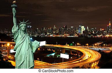 시간, 밤, 공간, 떠는, 도시 풍경, nyc, 광고