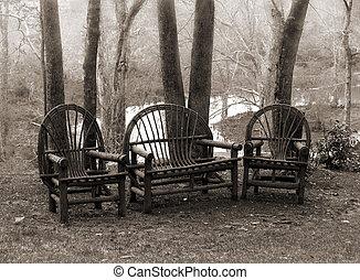 시골풍, 의자, 잔디
