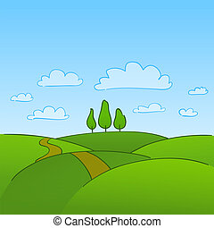 시골, 녹색의 나무