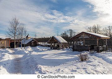 시골, 야드, 겨울