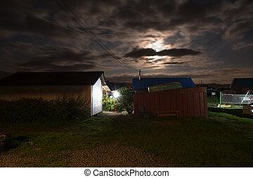시골, 야드, night.