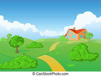 시골, house., 녹색, meadow.