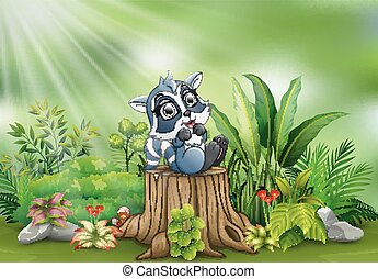 식물, 그루터기, 나무, 녹색, 너구리, 만화, 행복하다