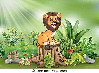 식물, 그루터기, 착석, 나무, 사자, 녹색, 만화, 행복하다
