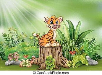 식물, 그루터기, 착석, 나무, tiger, 녹색, 만화, 행복하다