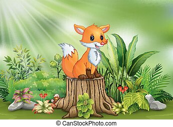 식물, 그루터기, 착석, 여우, 나무, 녹색, 만화, 행복하다