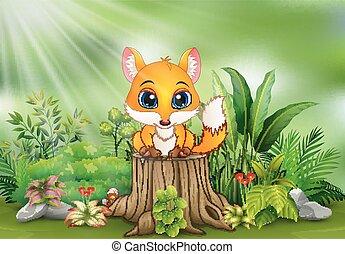 식물, 그루터기, 착석, 여우, 나무, 녹색, 만화