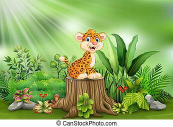 식물, 그루터기, 표범, 나무, 녹색, 만화, 행복하다
